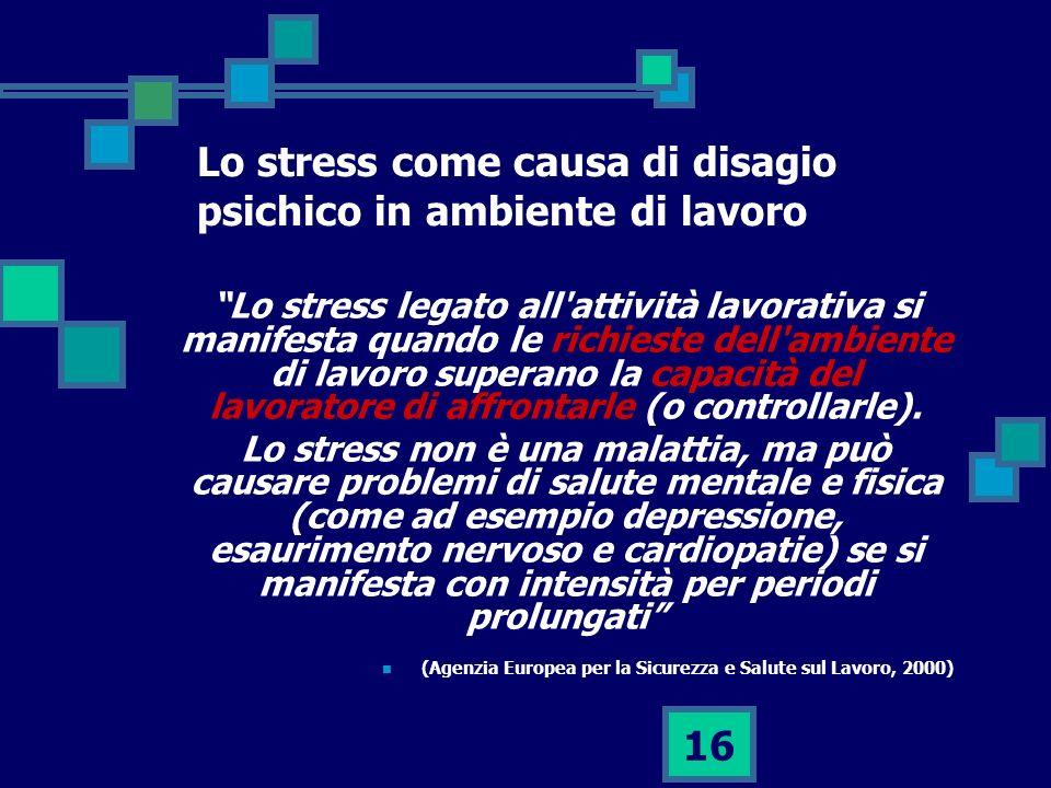 16 Lo stress come causa di disagio psichico in ambiente di lavoro Lo stress legato all attività lavorativa si manifesta quando le richieste dell ambiente di lavoro superano la capacità del lavoratore di affrontarle (o controllarle).