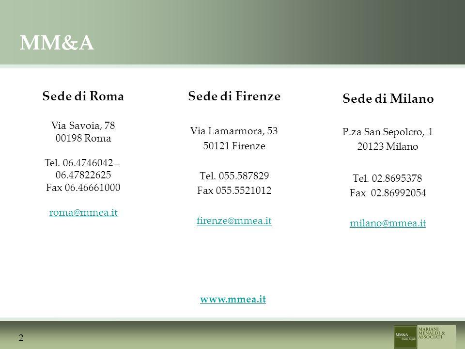 2 Sede di Firenze Via Lamarmora, 53 50121 Firenze Tel.