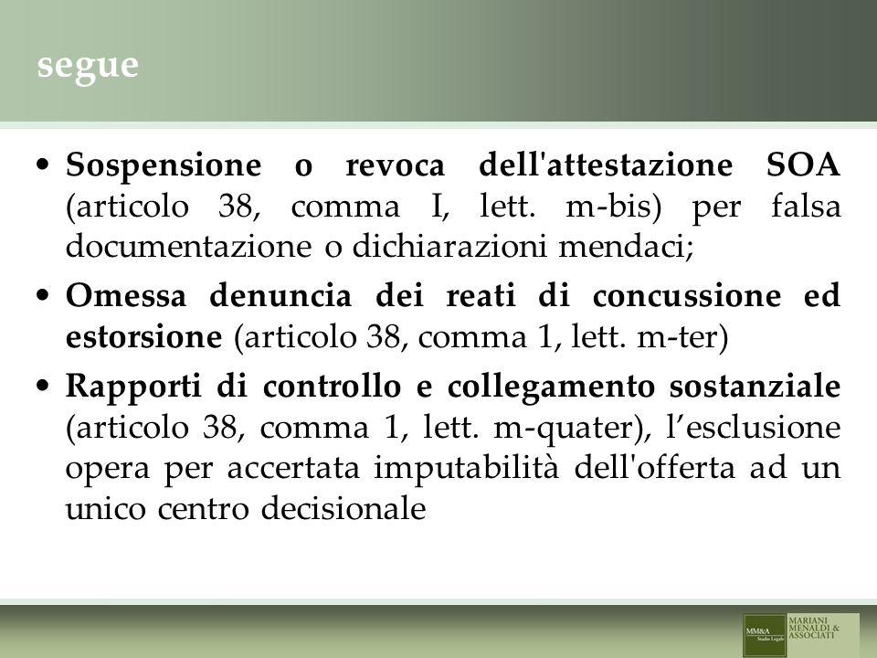 segue Sospensione o revoca dell attestazione SOA (articolo 38, comma I, lett.