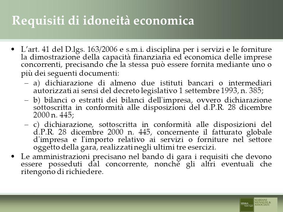 Requisiti di idoneità economica Lart. 41 del D.lgs.