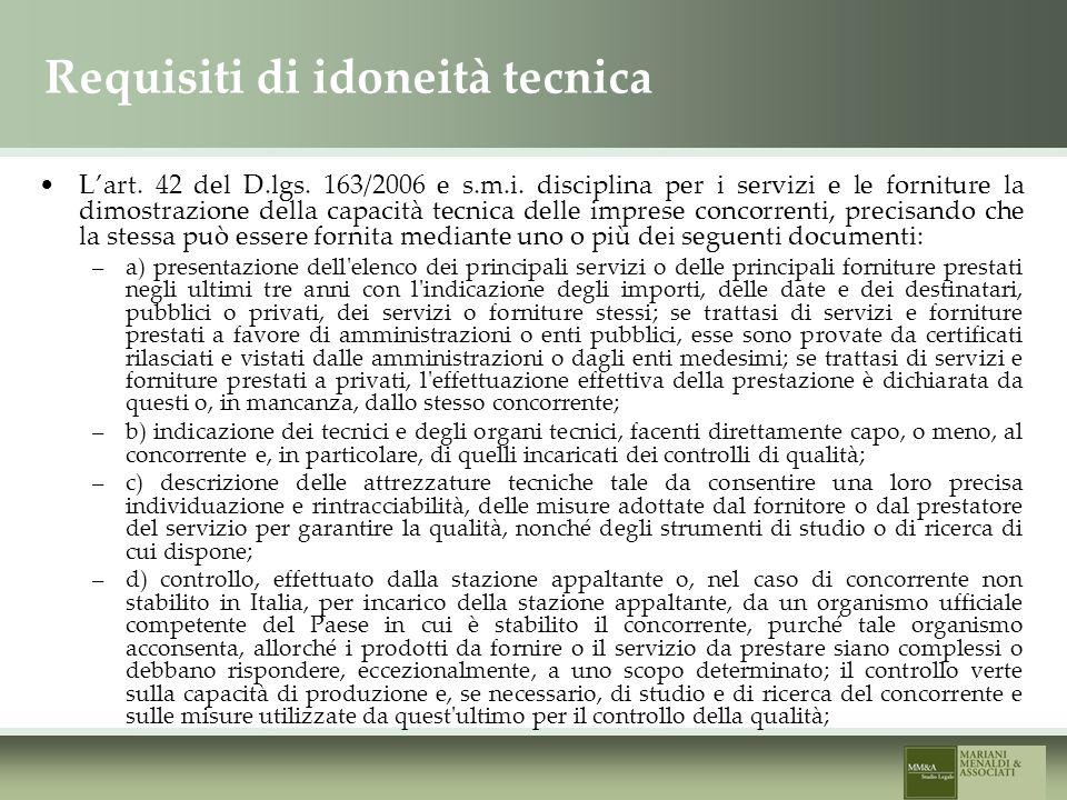 Requisiti di idoneità tecnica Lart. 42 del D.lgs.