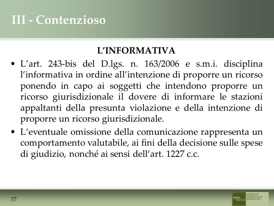 III - Contenzioso LINFORMATIVA Lart. 243-bis del D.lgs.