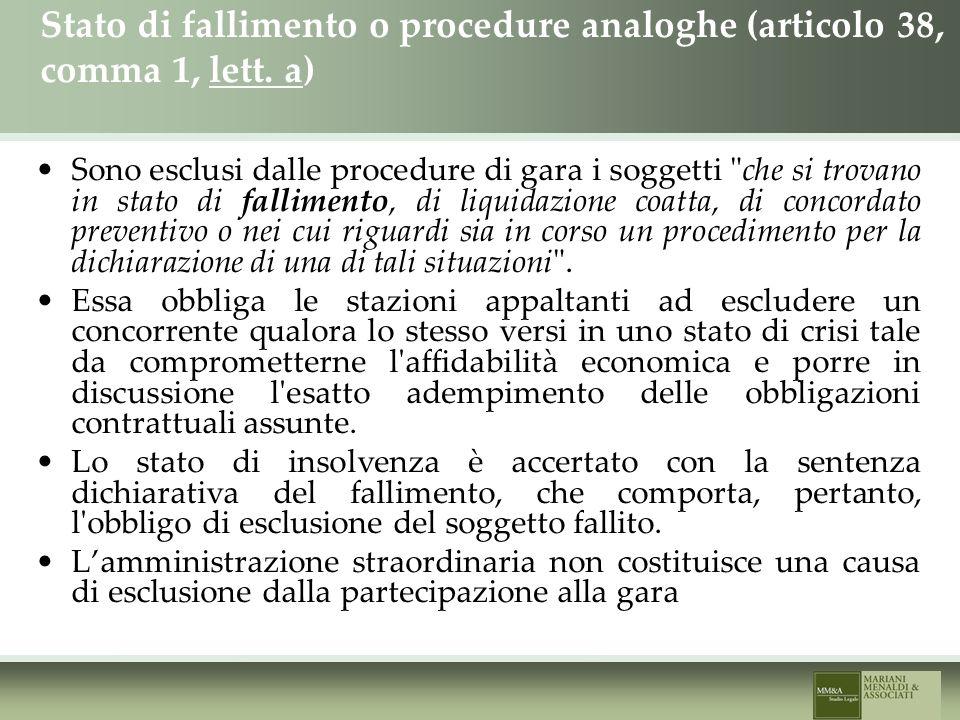 Stato di fallimento o procedure analoghe (articolo 38, comma 1, lett.