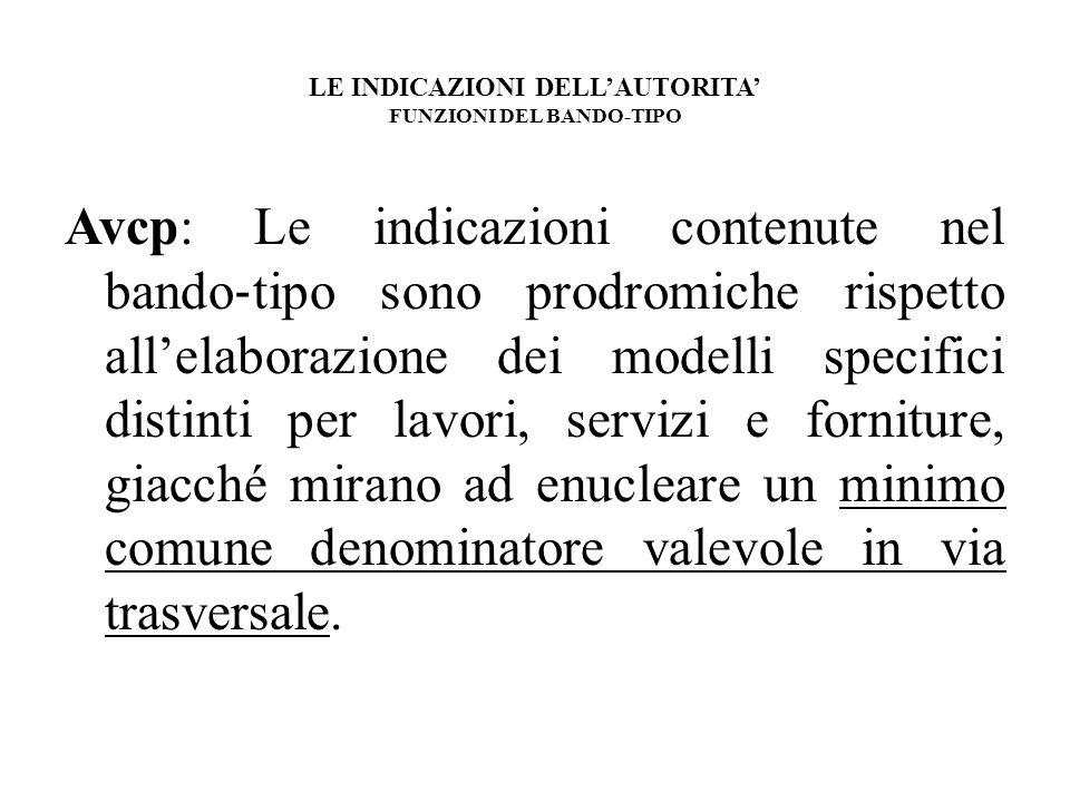 LE INDICAZIONI DELLAUTORITA FUNZIONI DEL BANDO-TIPO Avcp: Le indicazioni contenute nel bando tipo sono prodromiche rispetto allelaborazione dei modell