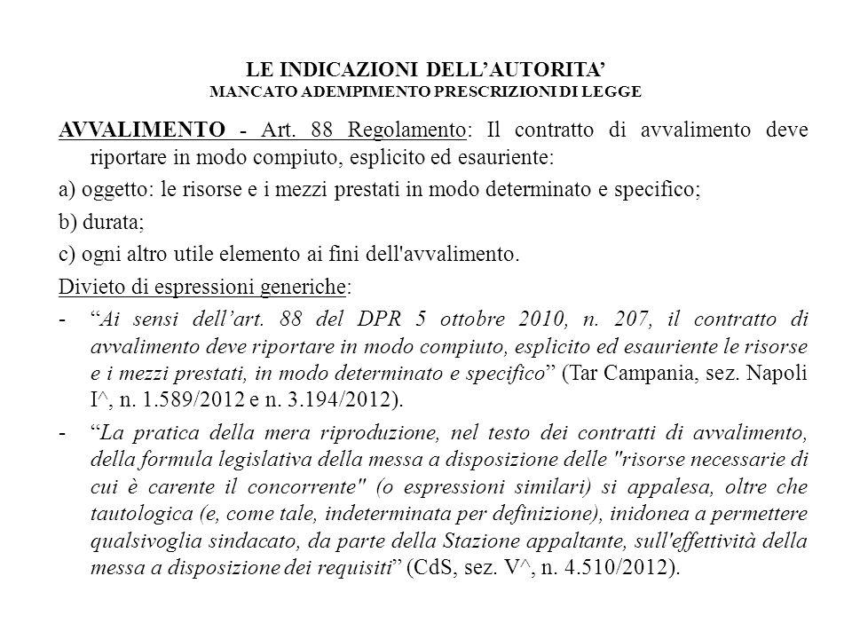 LE INDICAZIONI DELLAUTORITA MANCATO ADEMPIMENTO PRESCRIZIONI DI LEGGE AVVALIMENTO - Art. 88 Regolamento: Il contratto di avvalimento deve riportare in