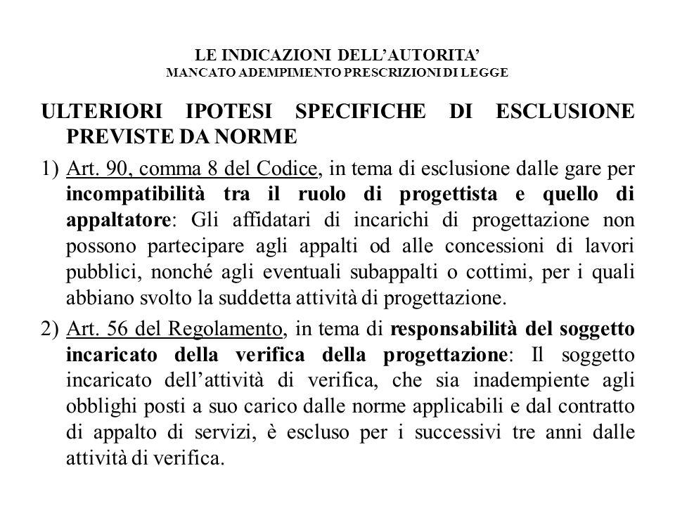 LE INDICAZIONI DELLAUTORITA MANCATO ADEMPIMENTO PRESCRIZIONI DI LEGGE ULTERIORI IPOTESI SPECIFICHE DI ESCLUSIONE PREVISTE DA NORME 1)Art. 90, comma 8