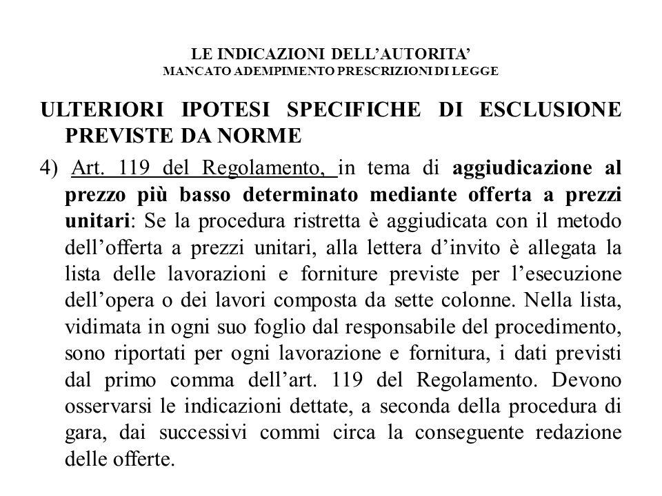 LE INDICAZIONI DELLAUTORITA MANCATO ADEMPIMENTO PRESCRIZIONI DI LEGGE ULTERIORI IPOTESI SPECIFICHE DI ESCLUSIONE PREVISTE DA NORME 4) Art. 119 del Reg