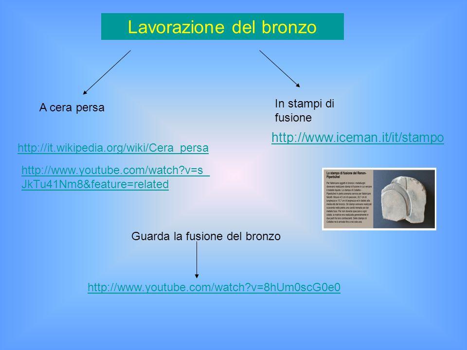 http://www.iceman.it/it/stampo Lavorazione del bronzo A cera persa In stampi di fusione http://it.wikipedia.org/wiki/Cera_persa http://www.youtube.com/watch?v=8hUm0scG0e0 Guarda la fusione del bronzo http://www.youtube.com/watch?v=s_ JkTu41Nm8&feature=related