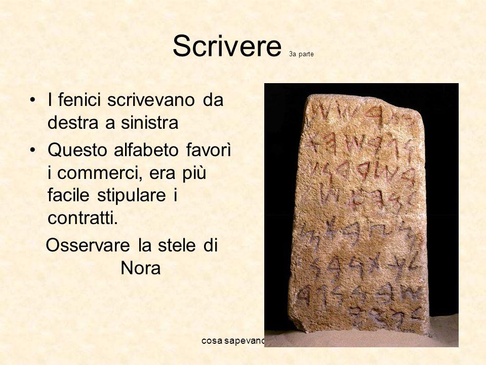 cosa sapevano fare Scrivere 3a parte I fenici scrivevano da destra a sinistra Questo alfabeto favorì i commerci, era più facile stipulare i contratti.