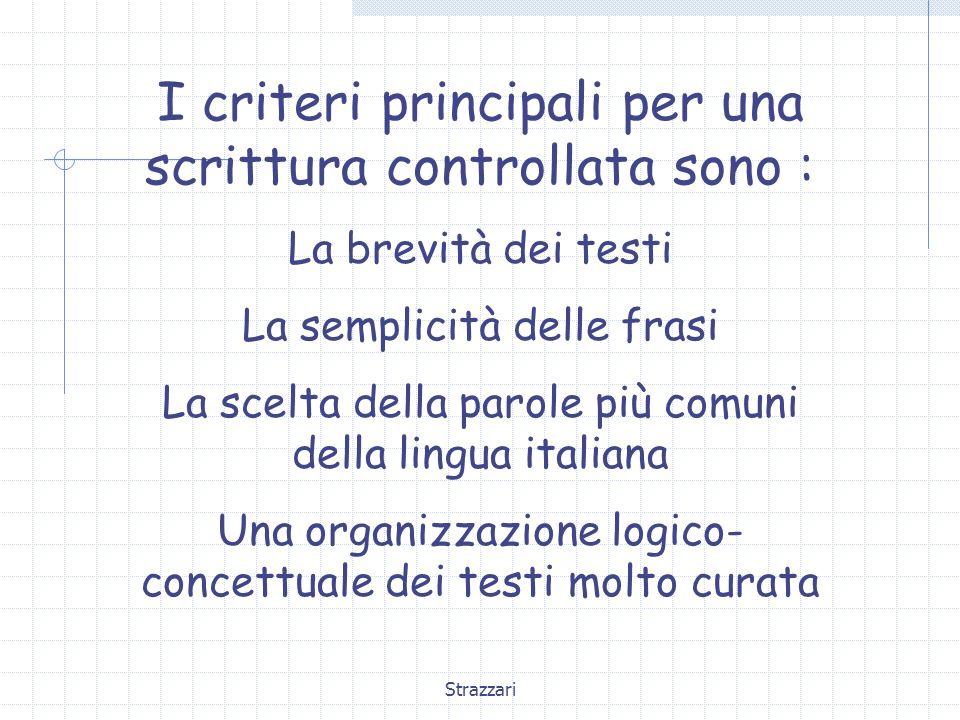 Strazzari I criteri principali per una scrittura controllata sono : La brevità dei testi La semplicità delle frasi La scelta della parole più comuni d