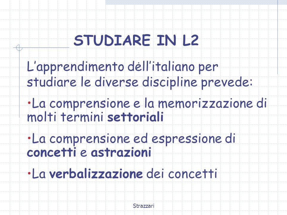 Strazzari STUDIARE IN L2. Lapprendimento dellitaliano per studiare le diverse discipline prevede: La comprensione e la memorizzazione di molti termini
