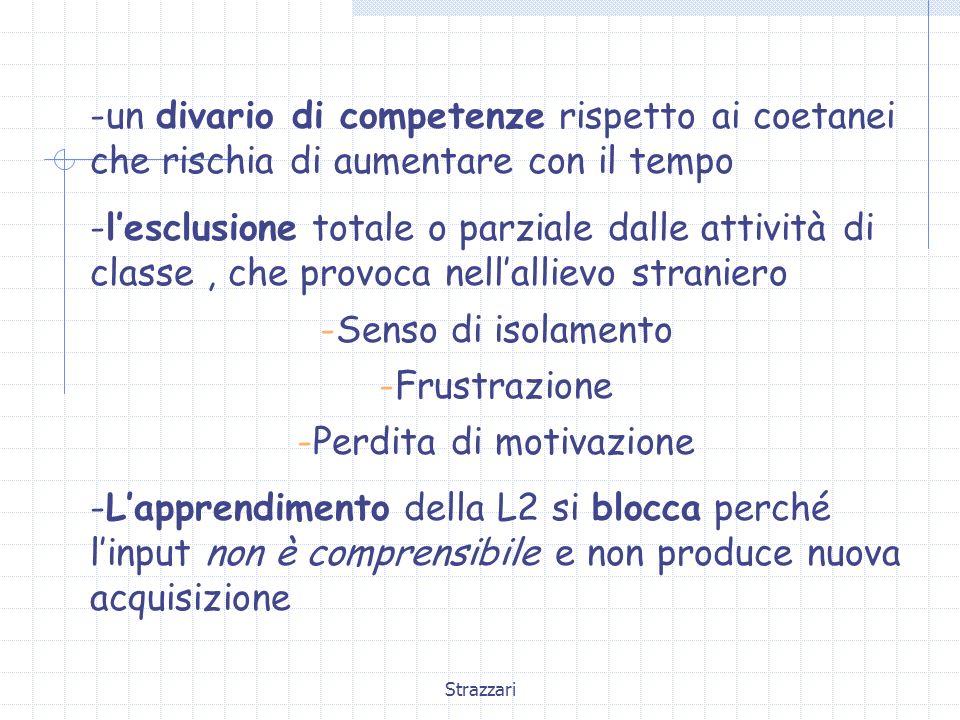 Strazzari -un divario di competenze rispetto ai coetanei che rischia di aumentare con il tempo -lesclusione totale o parziale dalle attività di classe