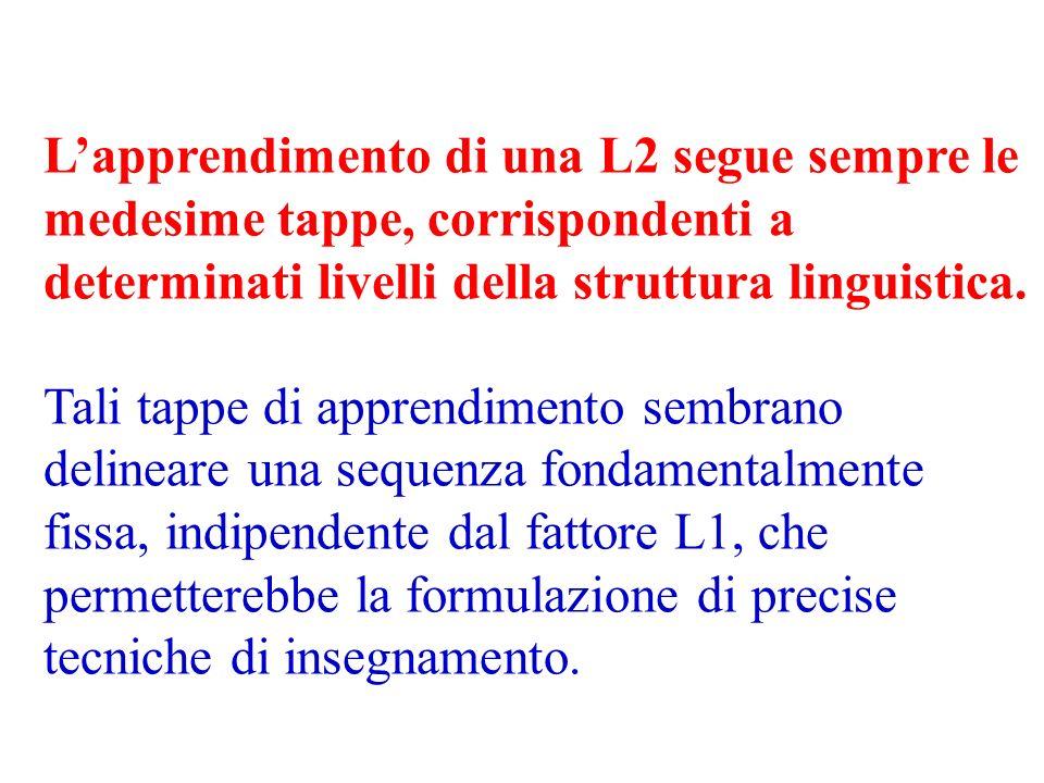 Lapprendimento di una L2 segue sempre le medesime tappe, corrispondenti a determinati livelli della struttura linguistica. Tali tappe di apprendimento