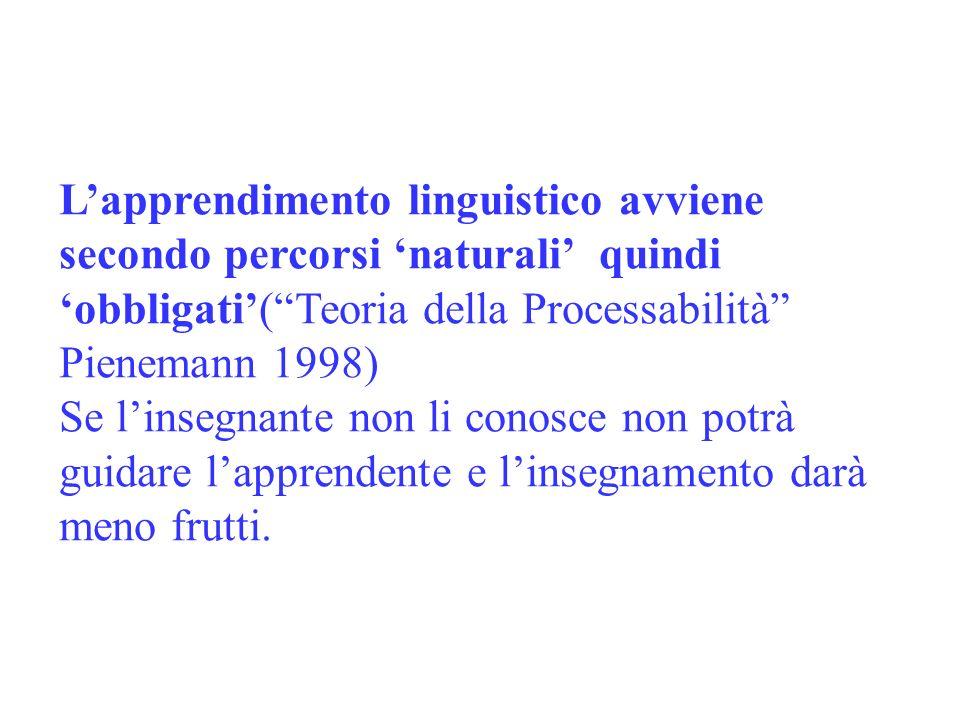 Lapprendimento linguistico avviene secondo percorsi naturali quindi obbligati(Teoria della Processabilità Pienemann 1998) Se linsegnante non li conosc