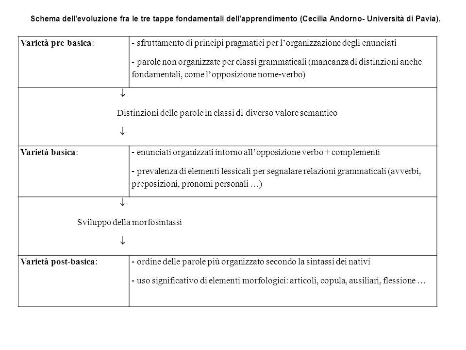 Varietà pre-basica: - sfruttamento di principi pragmatici per lorganizzazione degli enunciati - parole non organizzate per classi grammaticali (mancan