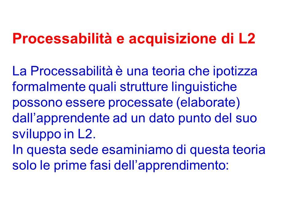 Processabilità e acquisizione di L2 La Processabilità è una teoria che ipotizza formalmente quali strutture linguistiche possono essere processate (el