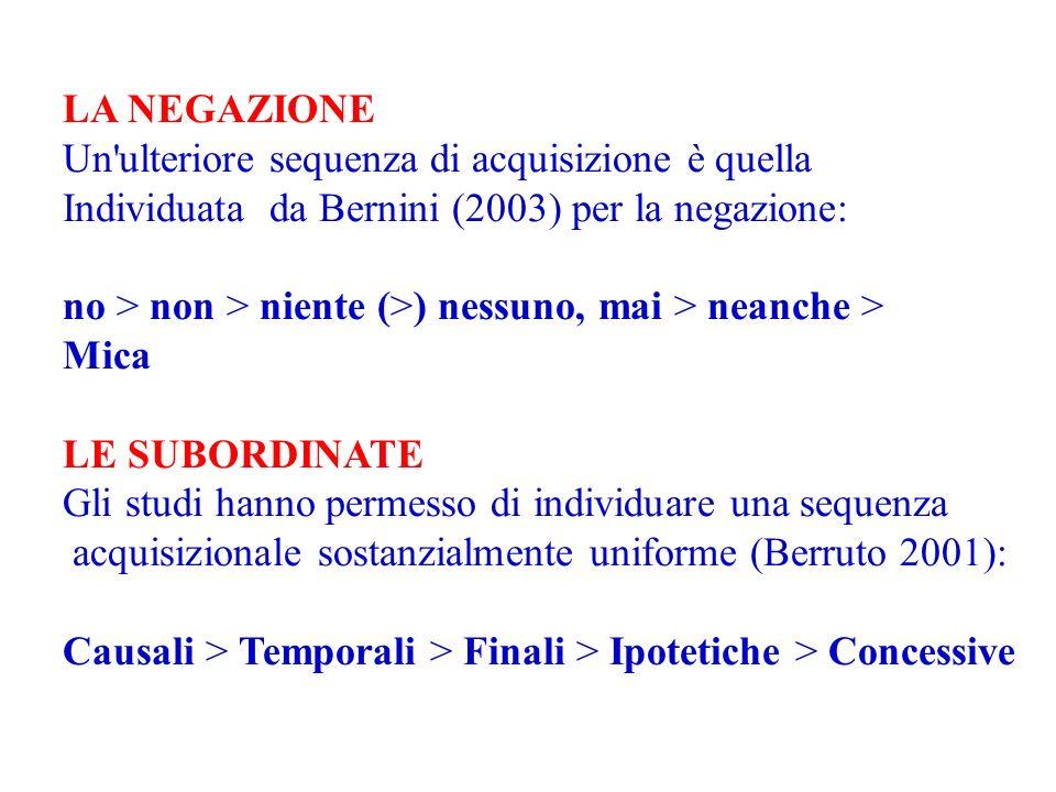 LA NEGAZIONE Un'ulteriore sequenza di acquisizione è quella Individuata da Bernini (2003) per la negazione: no > non > niente (>) nessuno, mai > neanc