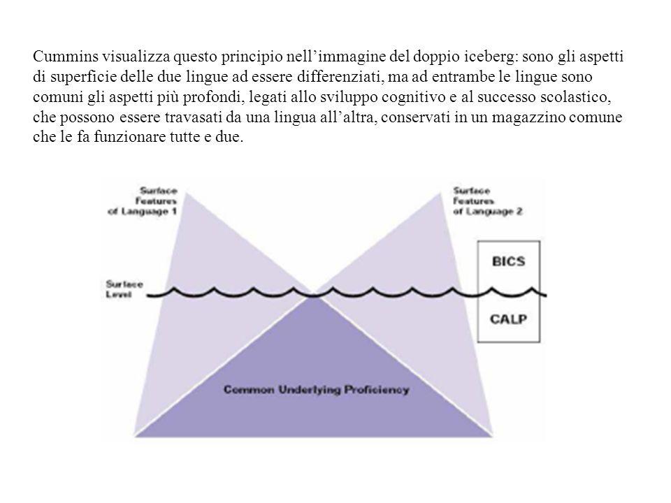 Cummins visualizza questo principio nellimmagine del doppio iceberg: sono gli aspetti di superficie delle due lingue ad essere differenziati, ma ad en