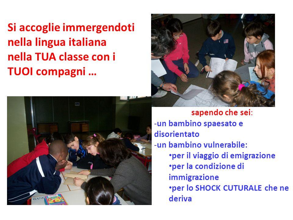 Si accoglie immergendoti nella lingua italiana nella TUA classe con i TUOI compagni … sapendo che sei: -un bambino spaesato e disorientato -un bambino