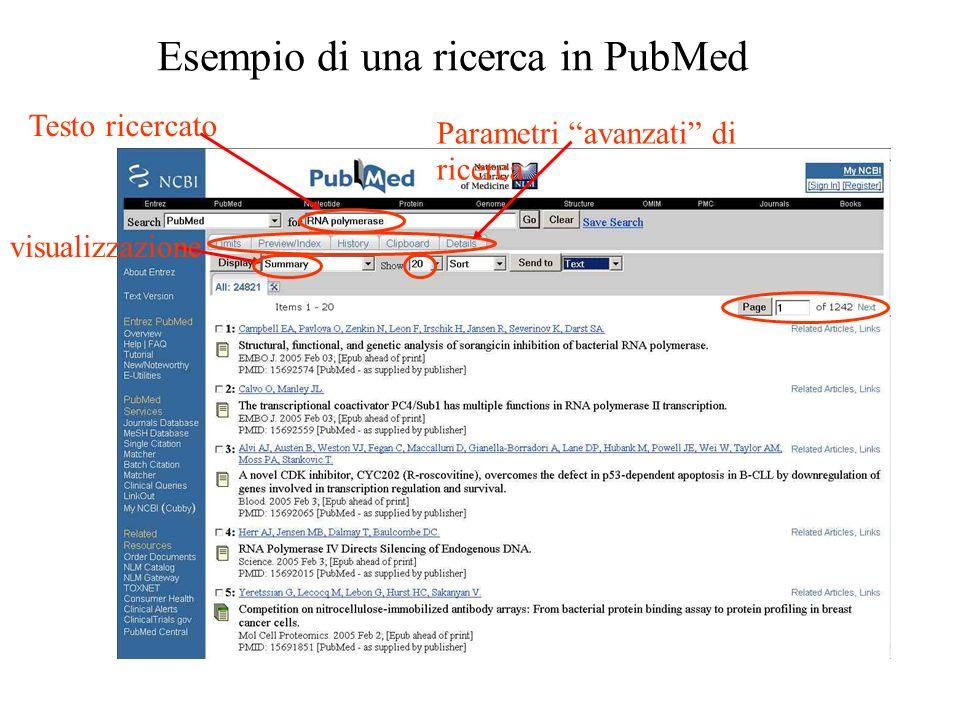 Esempio di una ricerca in PubMed Testo ricercato visualizzazione Parametri avanzati di ricerca