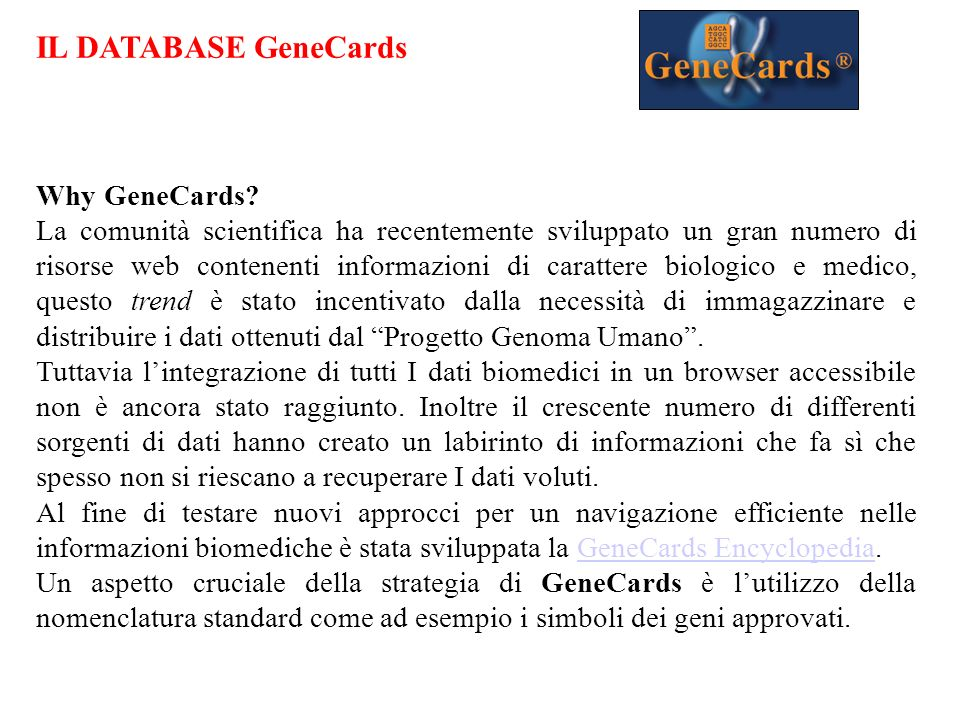 Why GeneCards.
