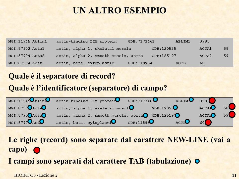 BIOINFO3 - Lezione 211 UN ALTRO ESEMPIO MGI:11945Ablim1actin-binding LIM proteinGDB:7173461ABLIM13983 MGI:87902Acta1actin, alpha 1, skeletal muscleGDB