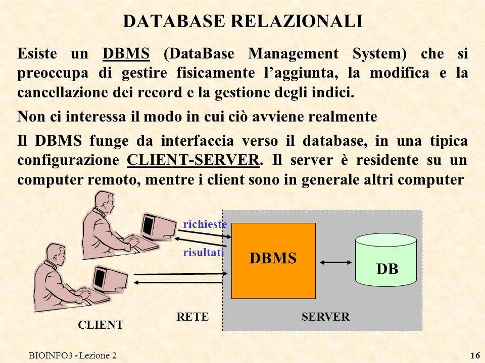 BIOINFO3 - Lezione 216 DATABASE RELAZIONALI Esiste un DBMS (DataBase Management System) che si preoccupa di gestire fisicamente laggiunta, la modifica