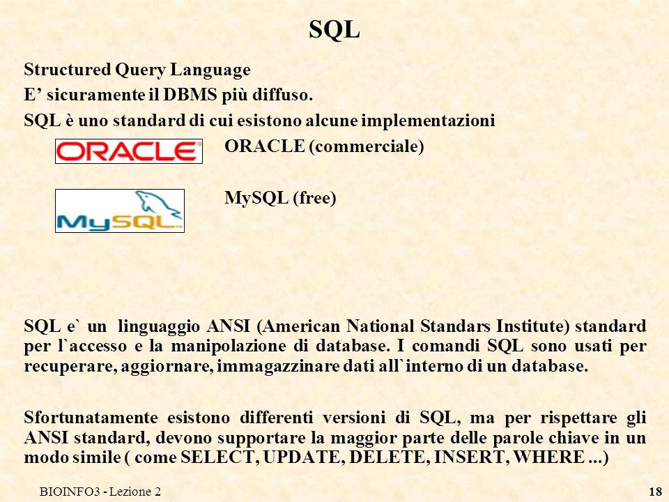 BIOINFO3 - Lezione 218 SQL Structured Query Language E sicuramente il DBMS più diffuso. SQL è uno standard di cui esistono alcune implementazioni ORAC