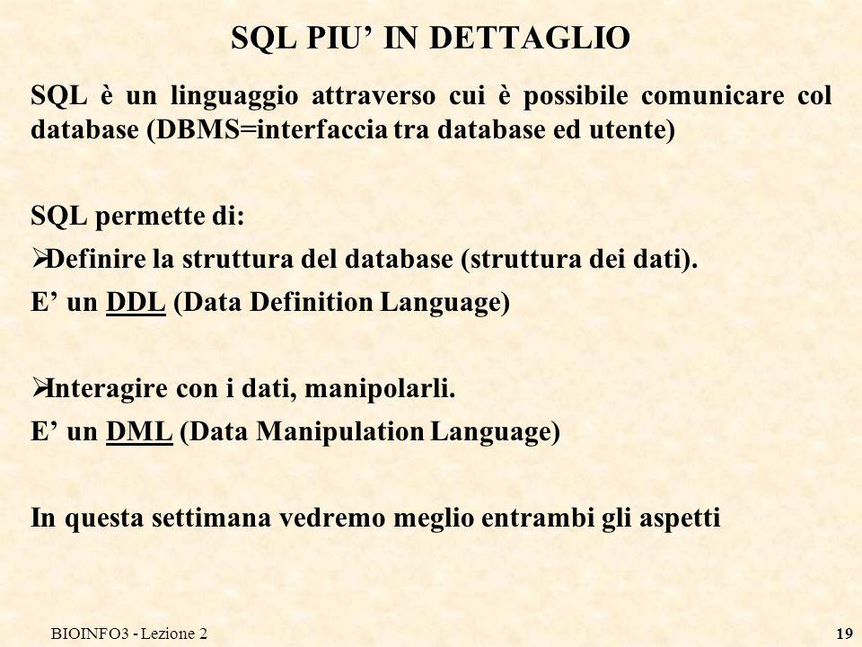 BIOINFO3 - Lezione 219 SQL PIU IN DETTAGLIO SQL è un linguaggio attraverso cui è possibile comunicare col database (DBMS=interfaccia tra database ed u