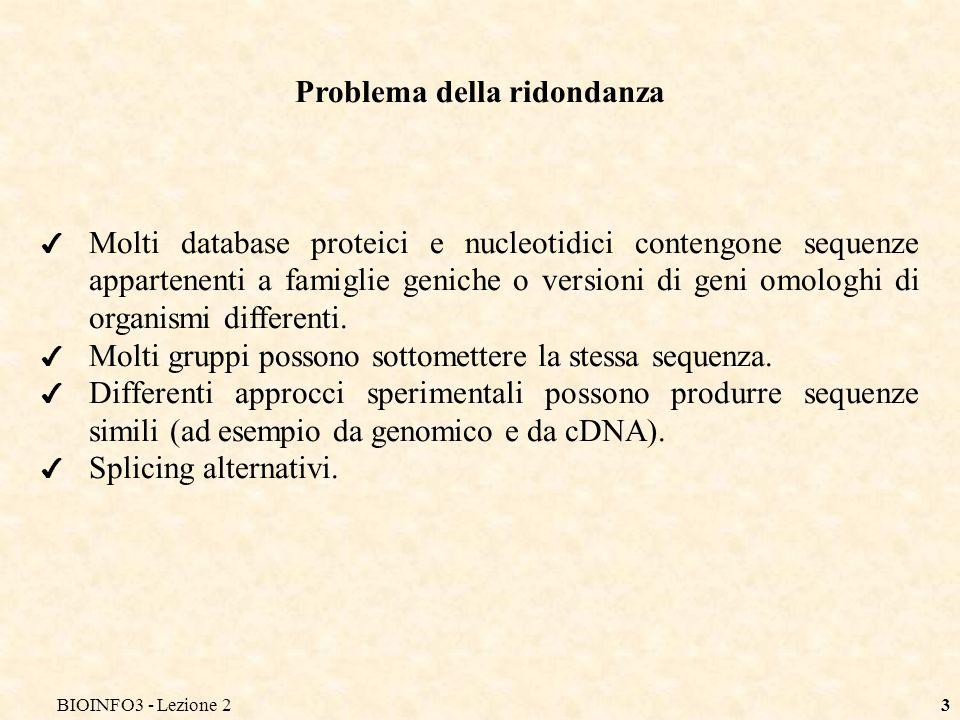 BIOINFO3 - Lezione 23 Problema della ridondanza Molti database proteici e nucleotidici contengone sequenze appartenenti a famiglie geniche o versioni