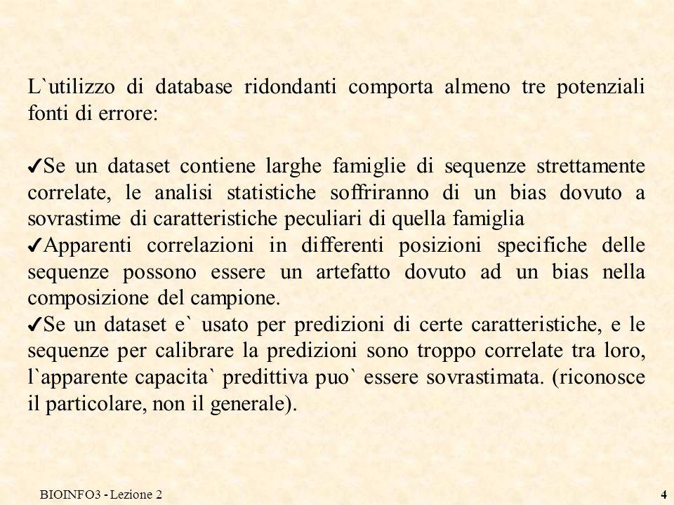 BIOINFO3 - Lezione 24 L`utilizzo di database ridondanti comporta almeno tre potenziali fonti di errore: Se un dataset contiene larghe famiglie di sequ