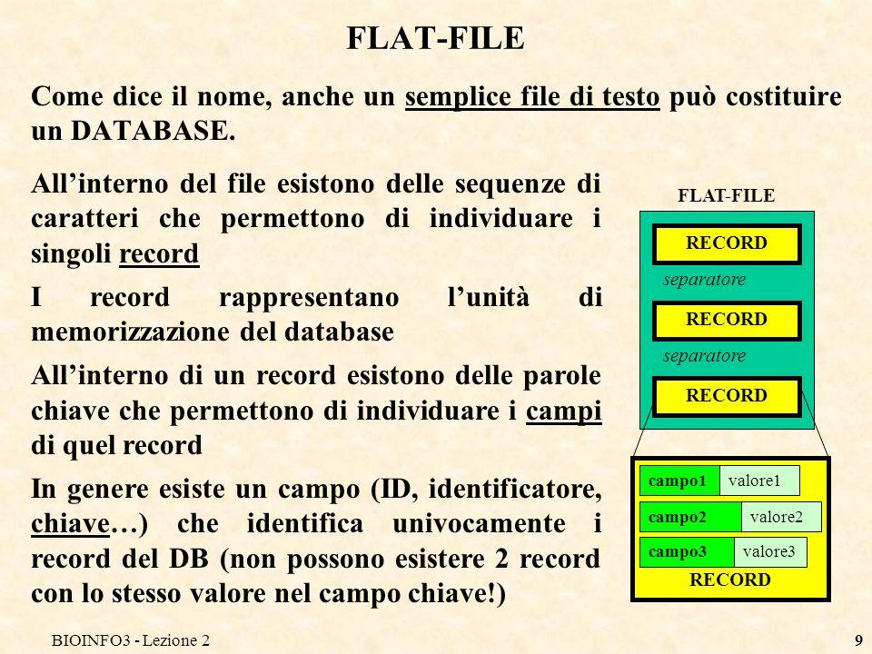 BIOINFO3 - Lezione 29 FLAT-FILE Come dice il nome, anche un semplice file di testo può costituire un DATABASE. Allinterno del file esistono delle sequ