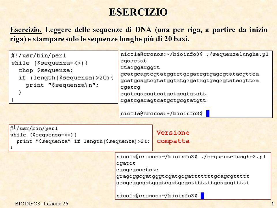 BIOINFO3 - Lezione 261 ESERCIZIO Esercizio.