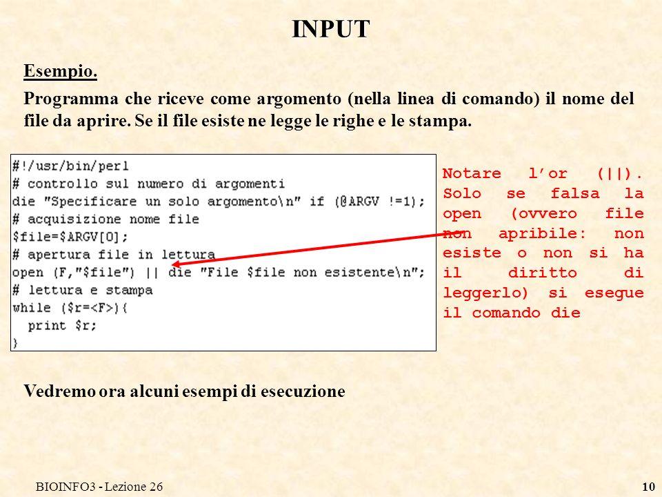 BIOINFO3 - Lezione 2610 INPUT Esempio.