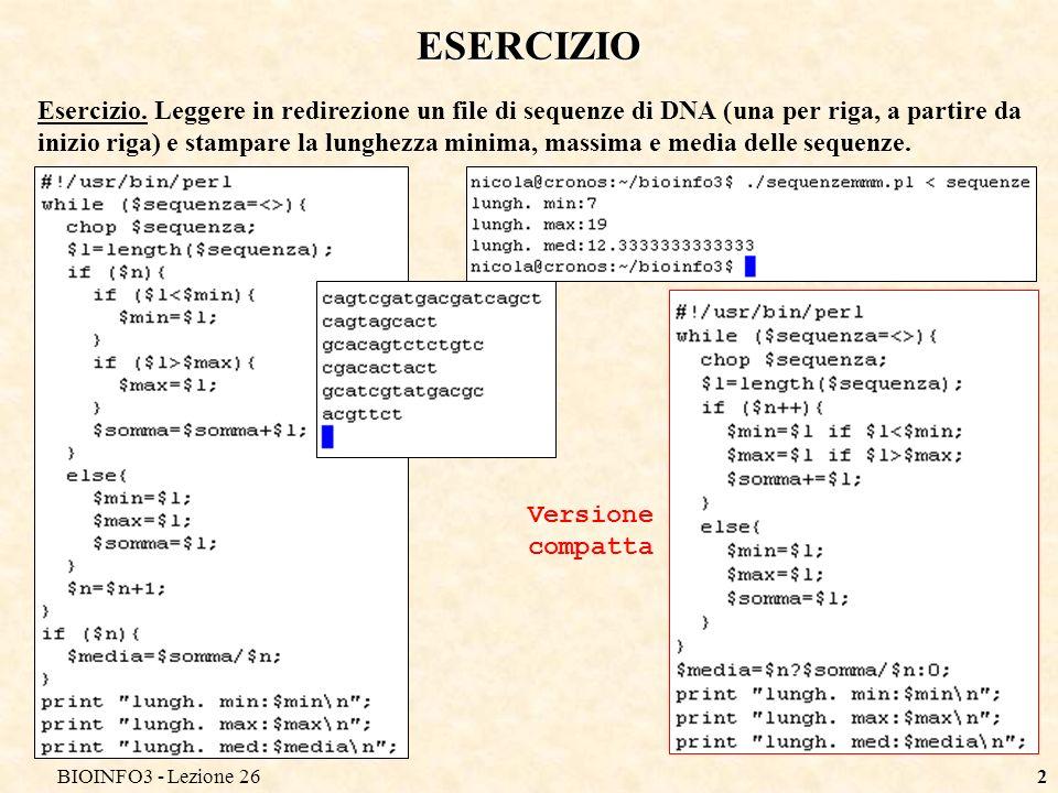 BIOINFO3 - Lezione 262 ESERCIZIO Esercizio.