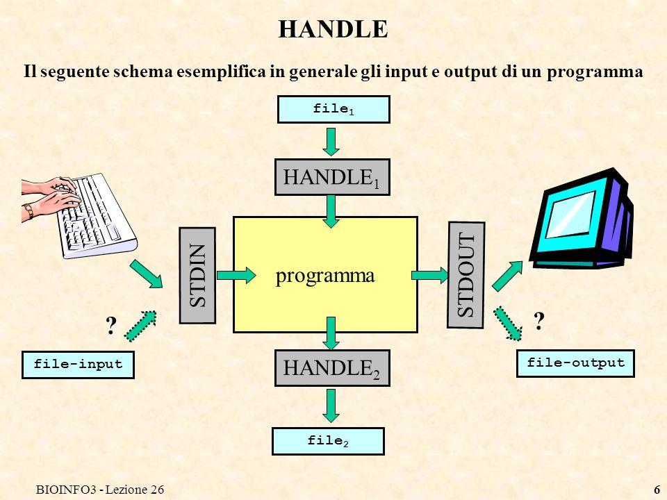 BIOINFO3 - Lezione 266 HANDLE Il seguente schema esemplifica in generale gli input e output di un programma programma STDIN STDOUT file-input file-output HANDLE 1 HANDLE 2 file 2 file 1 .