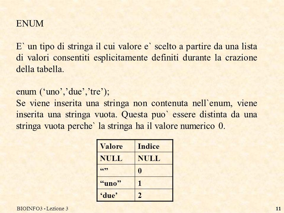BIOINFO3 - Lezione 311 ENUM E` un tipo di stringa il cui valore e` scelto a partire da una lista di valori consentiti esplicitamente definiti durante la crazione della tabella.