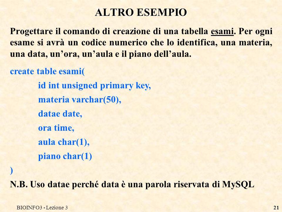 BIOINFO3 - Lezione 321 ALTRO ESEMPIO Progettare il comando di creazione di una tabella esami. Per ogni esame si avrà un codice numerico che lo identif