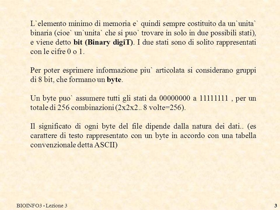 BIOINFO3 - Lezione 33 L`elemento minimo di memoria e` quindi sempre costituito da un`unita` binaria (cioe` un`unita` che si puo` trovare in solo in due possibili stati), e viene detto bit (Binary digiT).