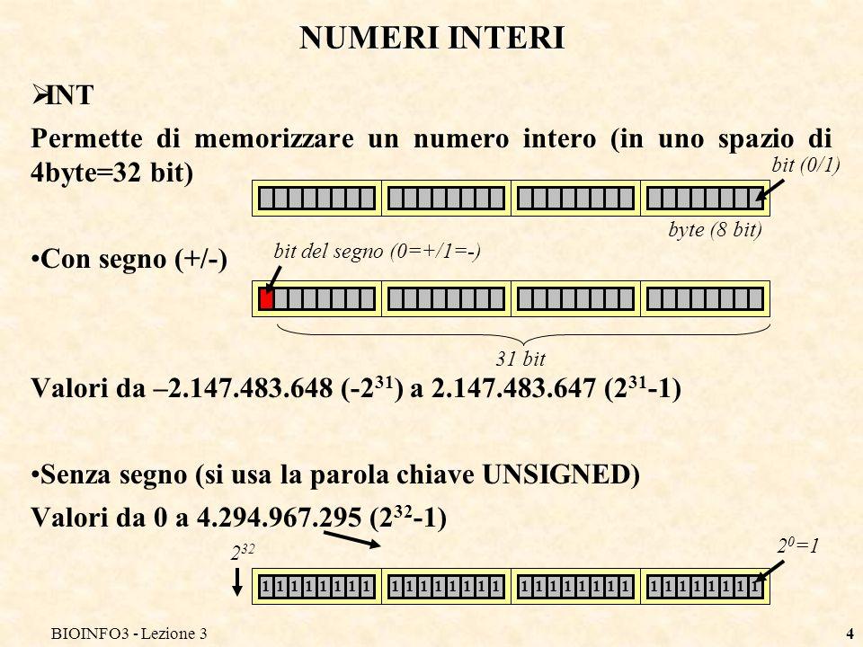 BIOINFO3 - Lezione 34 NUMERI INTERI INT Permette di memorizzare un numero intero (in uno spazio di 4byte=32 bit) Con segno (+/-) Valori da –2.147.483.