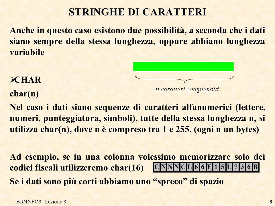 BIOINFO3 - Lezione 38 STRINGHE DI CARATTERI Anche in questo caso esistono due possibilità, a seconda che i dati siano sempre della stessa lunghezza, o
