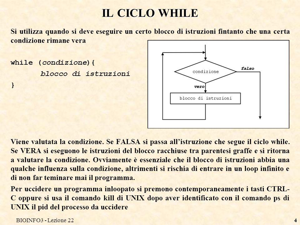 BIOINFO3 - Lezione 224 IL CICLO WHILE Si utilizza quando si deve eseguire un certo blocco di istruzioni fintanto che una certa condizione rimane vera while (condizione){ blocco di istruzioni } Viene valutata la condizione.
