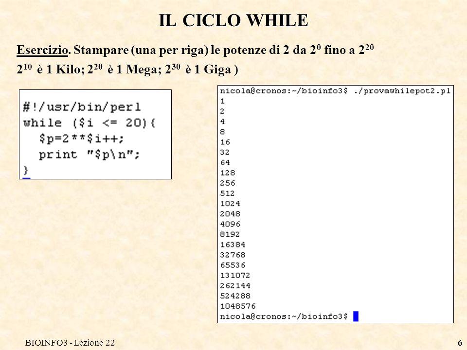 BIOINFO3 - Lezione 226 IL CICLO WHILE Esercizio.