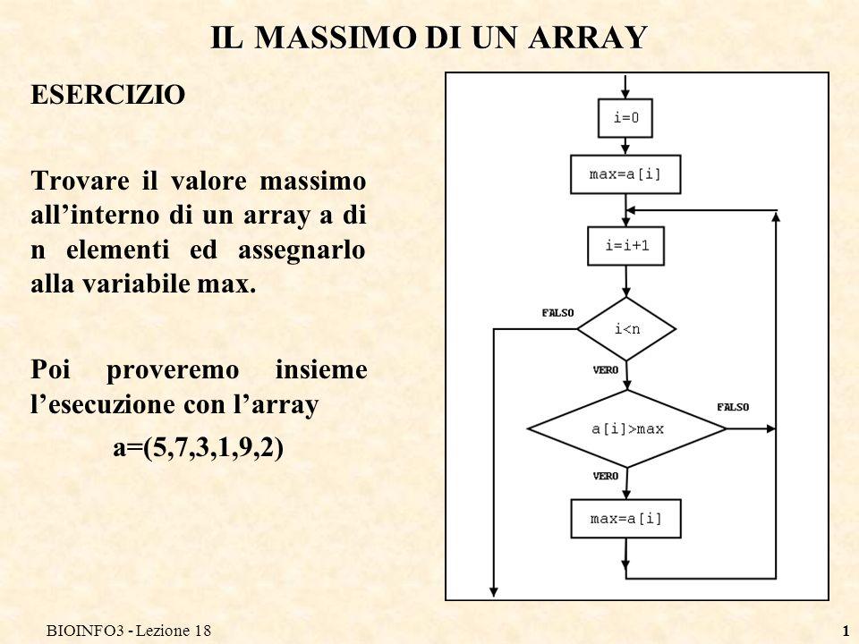 BIOINFO3 - Lezione 181 IL MASSIMO DI UN ARRAY ESERCIZIO Trovare il valore massimo allinterno di un array a di n elementi ed assegnarlo alla variabile