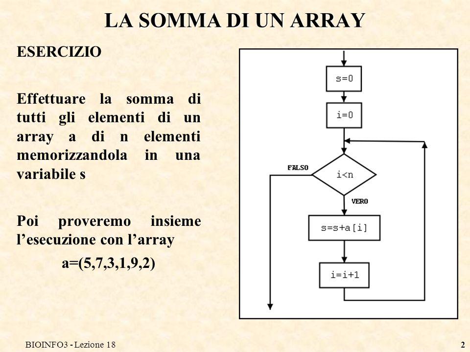 BIOINFO3 - Lezione 182 LA SOMMA DI UN ARRAY ESERCIZIO Effettuare la somma di tutti gli elementi di un array a di n elementi memorizzandola in una vari