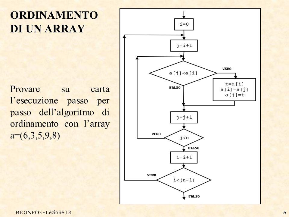 BIOINFO3 - Lezione 186 Ordinamento Bucket sort Prevede l`utilizzo di un array unidimensionale di interi positivi da ordinare, e un array bidimensionale di interi.