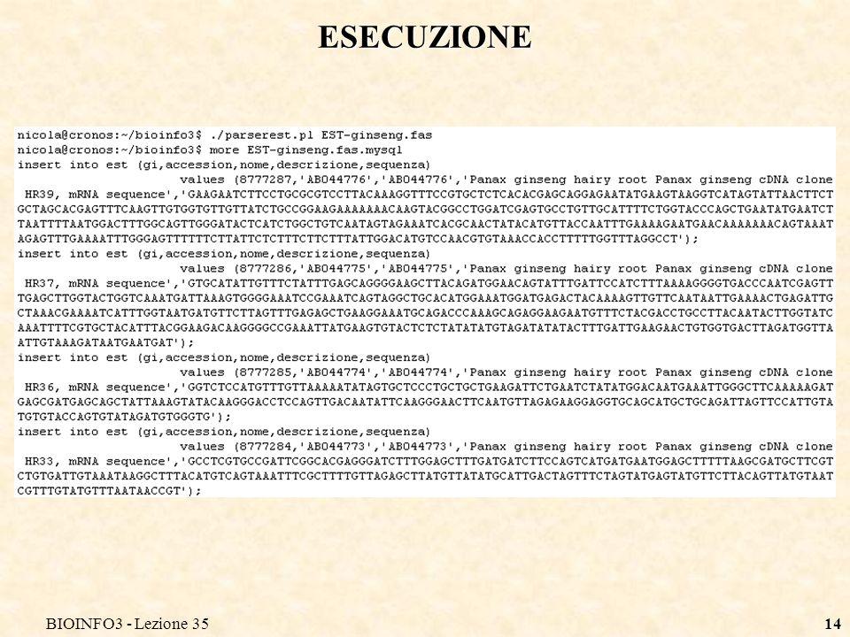 BIOINFO3 - Lezione 3514 ESECUZIONE