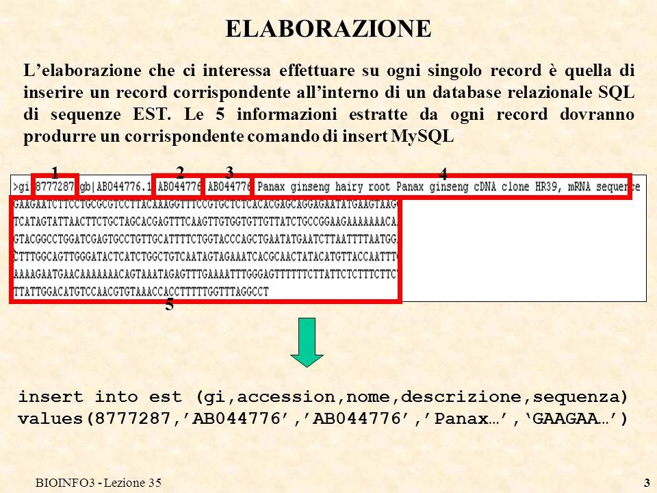 BIOINFO3 - Lezione 353 ELABORAZIONE Lelaborazione che ci interessa effettuare su ogni singolo record è quella di inserire un record corrispondente all