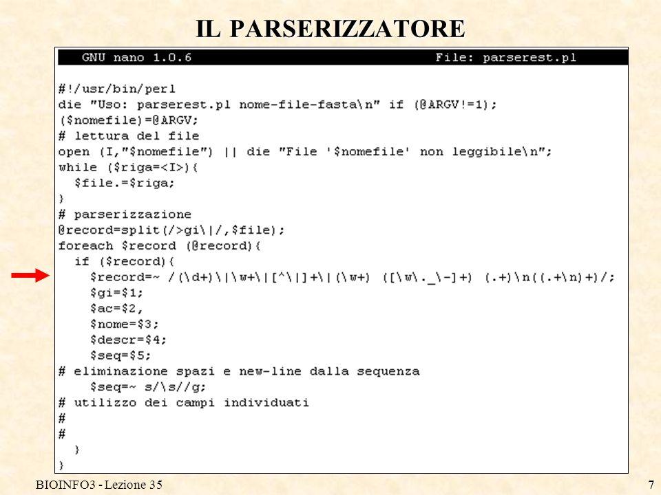 BIOINFO3 - Lezione 357 IL PARSERIZZATORE