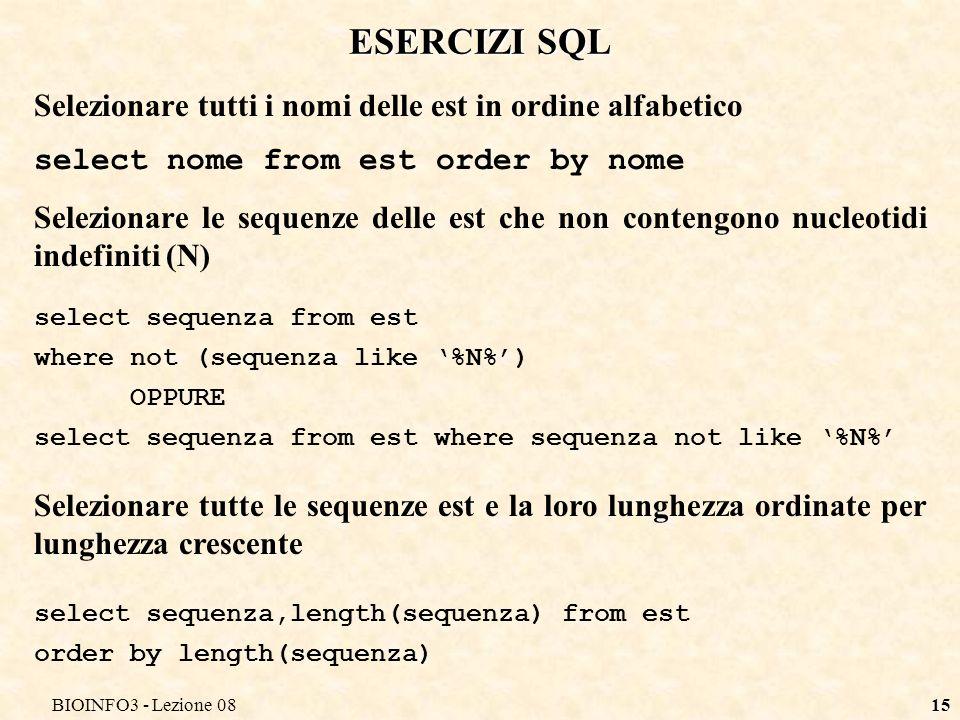 BIOINFO3 - Lezione 0814 ESERCIZIO SQL Supponiamo che esista una tabella di sequenze EST creata con il seguente comando create table est( gi int unsigned primary key, acc char(8), nome varchar(20), descrizione varchar(255), sequenza text )